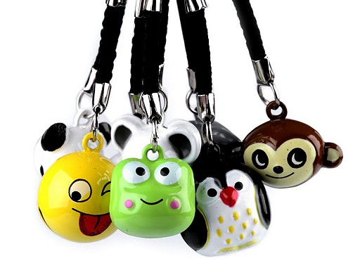Přívěsek na klíče rolnička tučňák, panda, smajlík, myš, opice