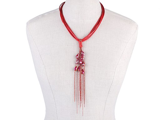 Naszyjnik ze szlifowanymi kamyczkami i łańcuszkiem