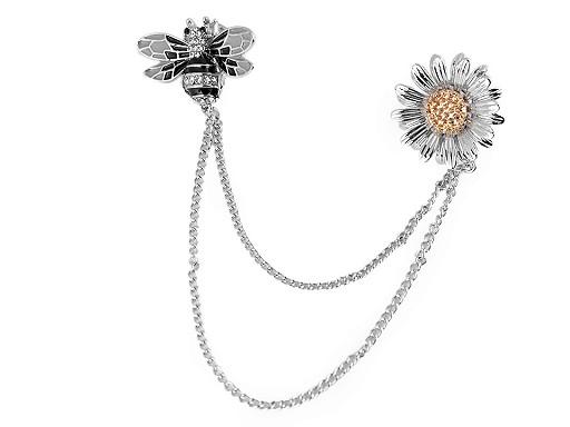 Brož / spona dragoun s broušenými kamínky jelen, křídlo, včela, květ