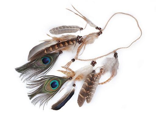 Splétaná čelenka do vlasů / náhrdelník s peřím a korálky