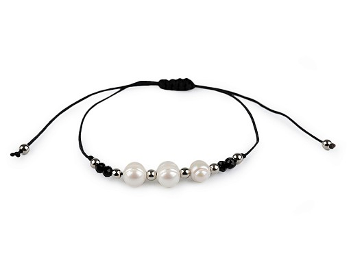 Náramek shamballa říční perly a broušené korálky
