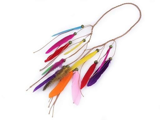 Pružná čelenka do vlasů / náhrdelník s peřím a korálky