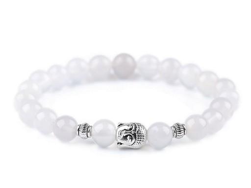 Buddha náramek achát bílý, dámský