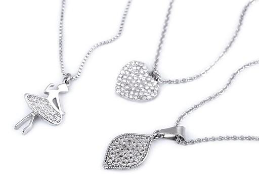 Naszyjnik ze stali nierdzewnej z szlifowanymi kamyczkami baletnica, serce, liść