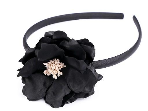 Opaska do włosów satynowa z kwiatkiem