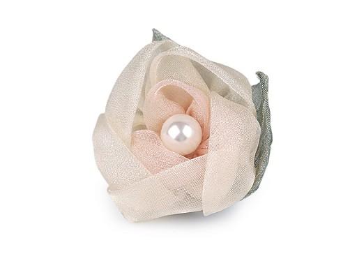 Brož květ z organzy s perlou