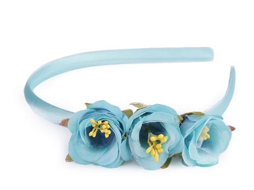 Detská saténová čelenka do vlasov s kvetmi