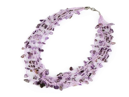 Embroidered Necklace with Mineral Chips