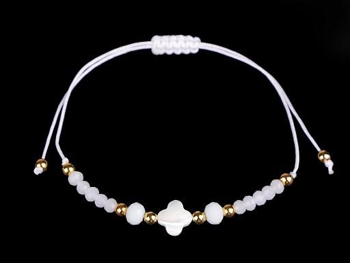 Náramek shamballa s perletí a broušenými korálky