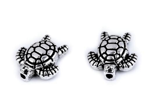 Kovová ozdoba mořská želva 12x13 mm