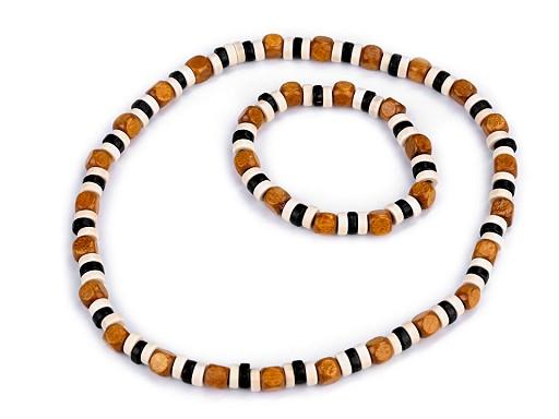 Sada náhrdelník a náramek z dřevěných korálků