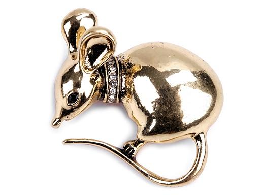 Brož myška s broušenými kamínky