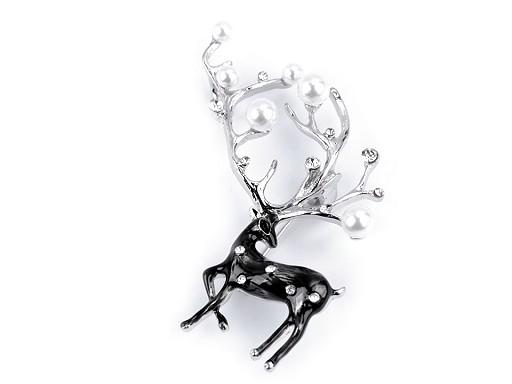 Brož s broušenými kamínky a perlami jelen