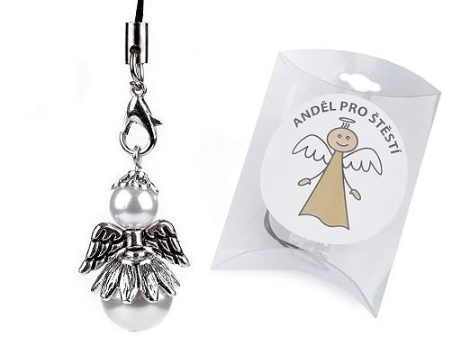 Aniołek na szczęście perłowy w pudełeczku
