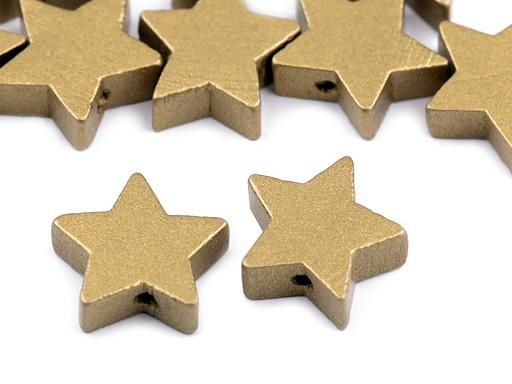 Dřevěné korálky hvězda metalické Ø19 mm