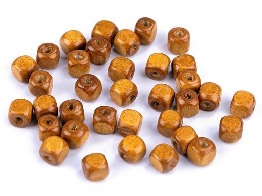 Dřevěné korálky kostka 8x8 mm