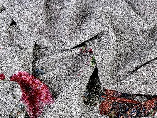 Pletenina žebrovaná dvoubarevná květy a mandaly s lurexem