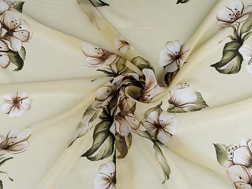 Šifón s velkými květy - zlatý lesk