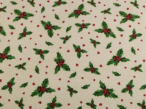 Vianočná dekoračná látka Loneta sada s niťou - cesmína