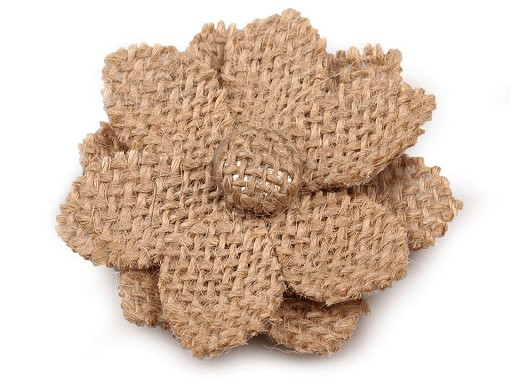 Textilní aplikace / nášivka jutový květ
