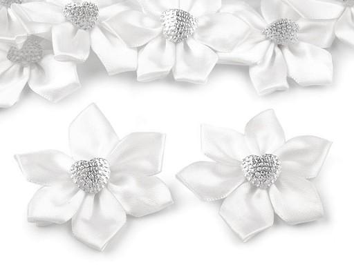Saténový květ se srdcem Ø50 mm s kamínkem