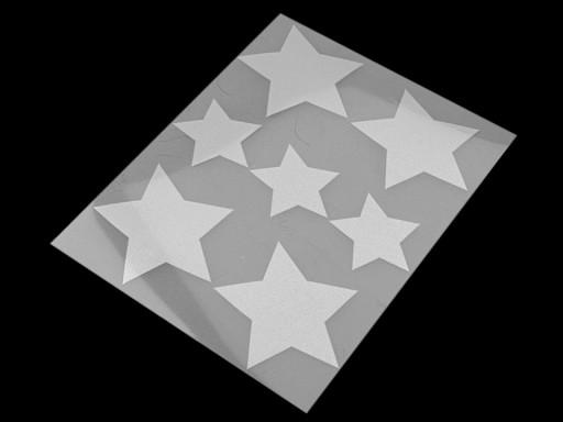Reflexní nažehlovačky hvězda, květ, srdce, smajlík, auto, pes, ježek, tučňák, ruka 9x12 cm