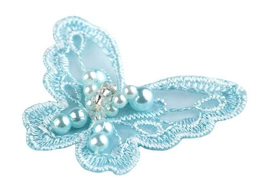 Textilní aplikace / nášivka motýl s perlami
