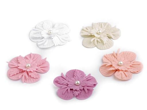 Textilní květ 3D Ø53 mm s perlou