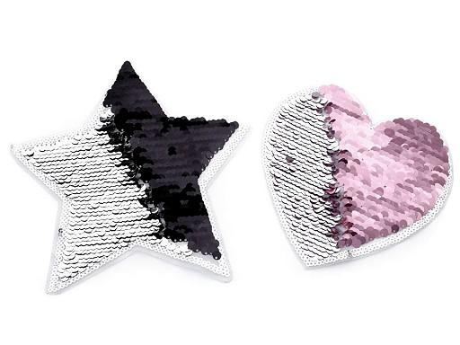 Velká aplikace srdce, hvězda s oboustrannými flitry
