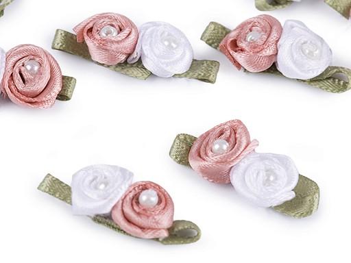 Saténové růžičky s perlou 11x30 mm