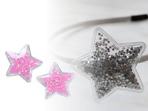 Vánoční aplikace hvězda plněná sypanými flitry