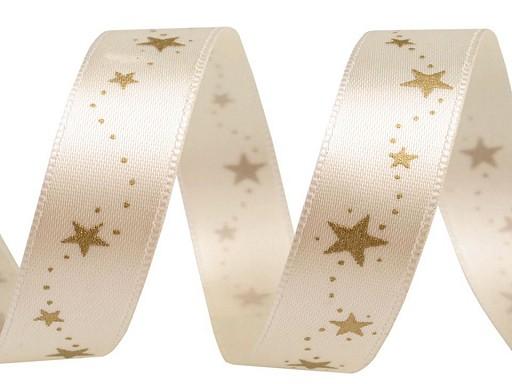 Vánoční stuha hvězdy šíře 15 mm