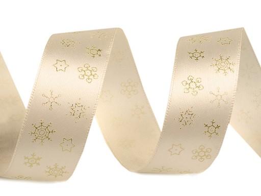 Vánoční stuha vločky šíře 25 mm