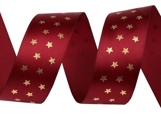 Vánoční stuha hvězdy šíře 25 mm