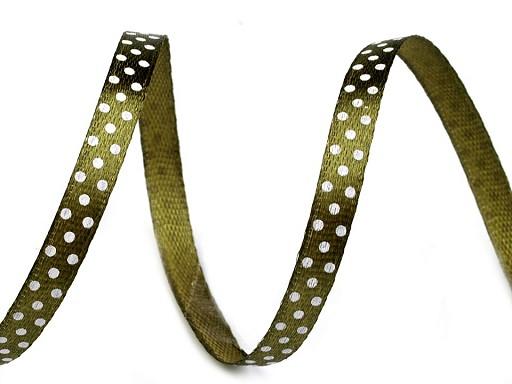 Saténová stuha s puntíky šíře 6 mm 2. jakost
