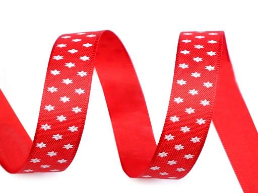 Vánoční stuha hvězdy šíře 14 mm