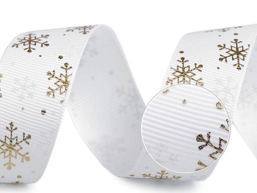 Wstążka rypsowa płatki śniegu szerokość 25 mm