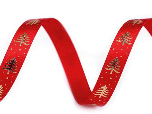 Vánoční saténová stuha stromeček šíře 10 mm