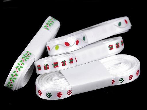 Vánoční saténová stuha cesmína, dárek, baňka, vánoční světýlka šíře 10 mm