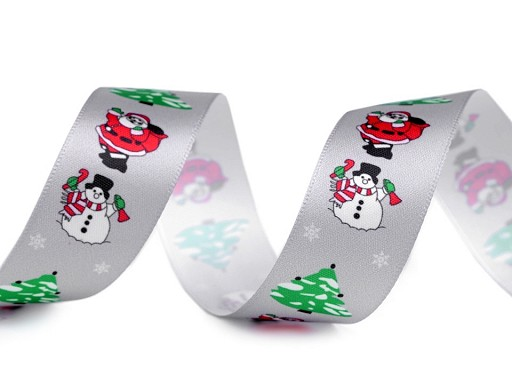 Vianočná saténová stuha Santa, snehuliak, stromček šírka 26 mm