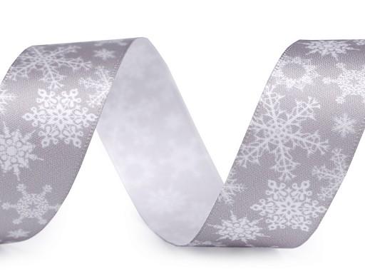 Vánoční saténová stuha vločky šíře 25 mm