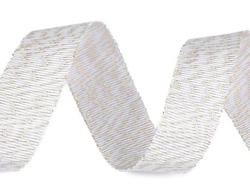 Vánoční tkaná stuha s leskem a lurexem šíře 20 mm