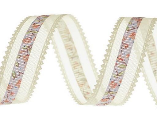 Monofilová stuha s květy šíře 24 mm
