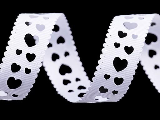 Rypsová stuha s výsekem srdce šíře 20 mm