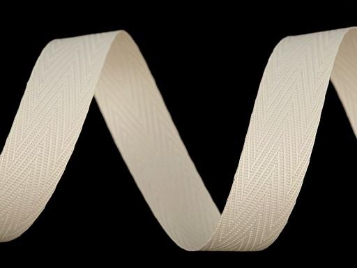 Stuha keprové vazby šíře 15 mm recyklovaná z PET láhví, vhodná na roušky