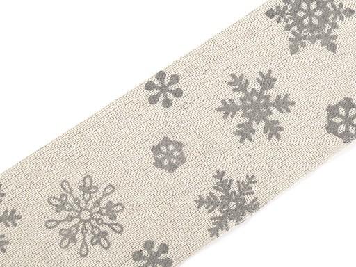 Vánoční lněná stuha vločky šíře 63 mm řezaná