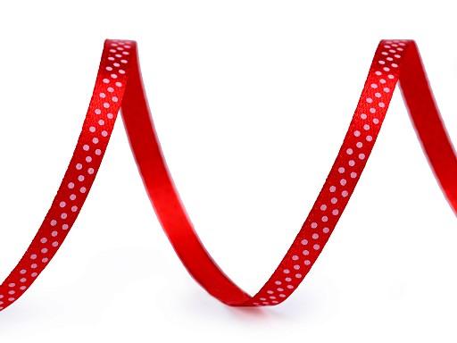 Saténová stuha s puntíky šíře 6 mm
