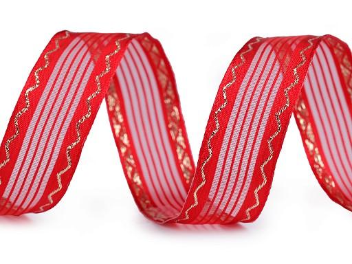 Vánoční stuha s lurexem a drátem šíře 25 mm