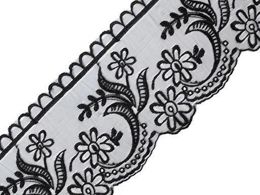 Csipke monofil alapon szélessége 11 cm hímzett