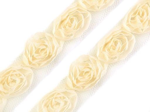 Tüll alapon rózsák díszítő szalag 20mm-es rózsákal